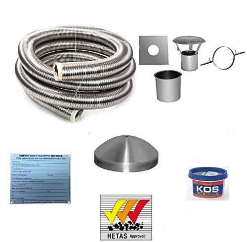 8 Metre 5' 904 Flexible Multifuel Stove Flue Liner Pack/Kit Stainless Steel Class 1 HETAS 8m 904...