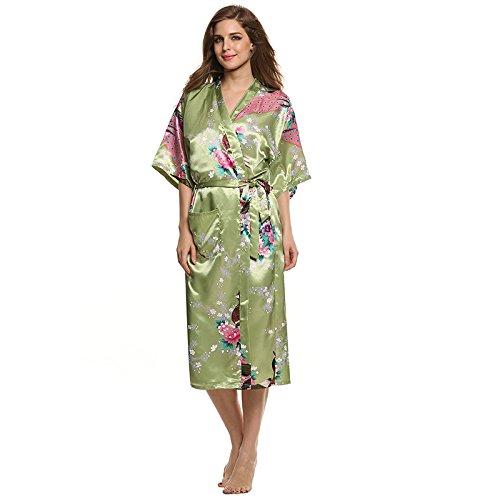 WDDGPZSY Camisa De Dormir/Camisón/Ropa De Dormir/Pijamas/Mujeres Kimono Satén Robe Ropa De Noche De Seda Pijama Casual Albornoz LargoCamisón Bata De Noche 8 Colores, Verde, L