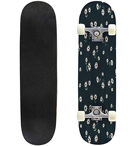 """Seamless Pattern of Small Daisy Flowers on Dark Blue Background Skateboard 31""""x8"""" Double-Warped Skateboards Outdoor Street Sports Skateboard for Beginners Professionals Cool Adult Teen Gifts"""