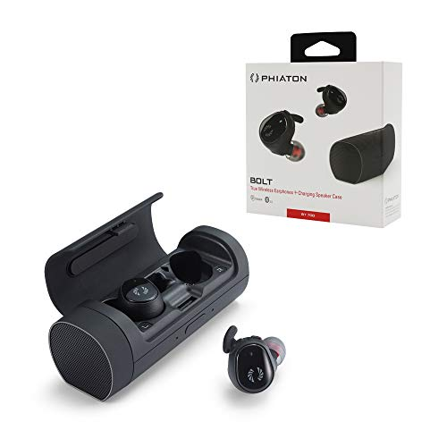 Phiaton Bolt BT 700 BA Black Balanced Armature True Wireless Earbuds with Mic – Sound-Isolating Bluetooth Wireless Earphones with Rich Stereo Bass and Charging Speaker Case, Siri, Google Assistant