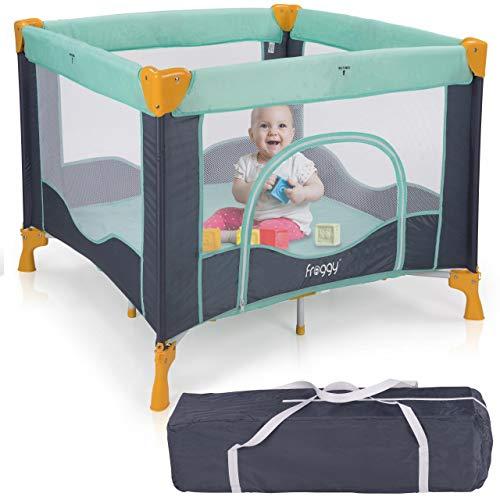 Froggy® Reisebett Laufstall Spielstall Kinderreisebett Kombi-Reisebett inkl. faltbare Unterlage Transporttasche zusammenklappbar Tropical