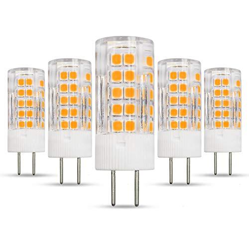 GY6.35 4W Bi-Pin LED-Birne, ersetzt 40W Halogenbirne, 12V, 380LM, Warmweiß 3000K, nicht dimmbar, 360°Strahlwinkel, hell für Heimbeleuchtung, 5er-Pack. [MEHRWEG]
