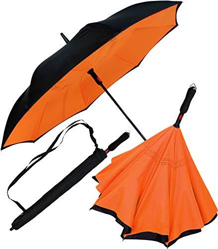 iX-brella Reverse-Regenschirm Automatik- umgedreht zu öffnen - schwarz-neon orange