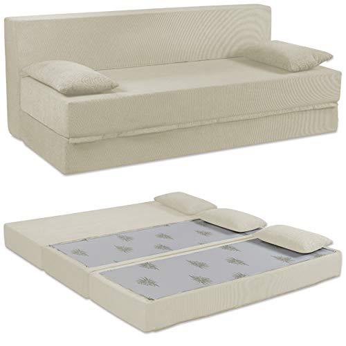 Baldiflex Sofá Cama de 3Plazas Espuma viscoelastica, Modelo Tetris. Confortable Funda extraíble y Lavable. Color Blanco Perla.
