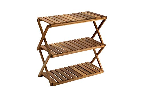 BEEFURNI Rectangular 3 Tier Acacia Wood Rustic Wooden Loft Modern Home Décor Decoration Foldable Shelf Space Organization Plant Pot Stand Holder Display Strong Layer Storage Rack Natural Color