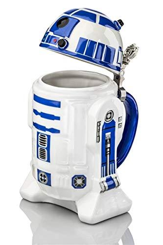 STAR WARS Beer Mug R2D2 25 cm, Ceramic, White and Blue, 9 cm