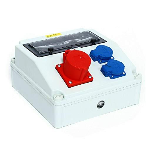Distribuidor de corriente para construcción, impermeable, 16 A, azul 230 V + rojo, enchufe CEE, 400 V