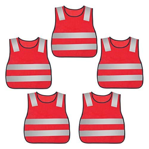 AIEOE 5 Stück Warnweste Sicherheitsweste Stark Sichtbar Reflektierende Weste Pannenweste Sicherheits Zubehör mit Klettverschluss für Kinder