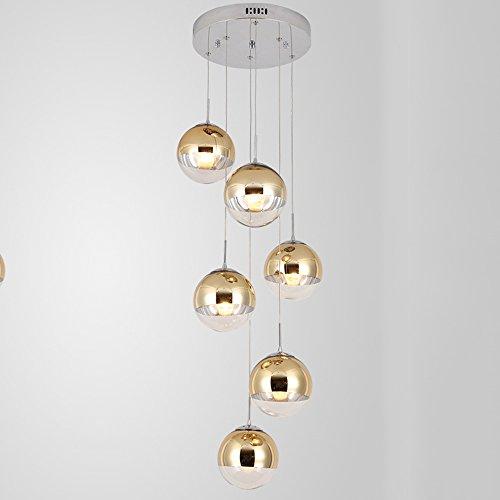 lampadario a sospensione palla Moderna scala lampadario 6 sfere di vetro personalità creativa soggiorno luce minimalista lampada a sospensione lunga luce colore oro
