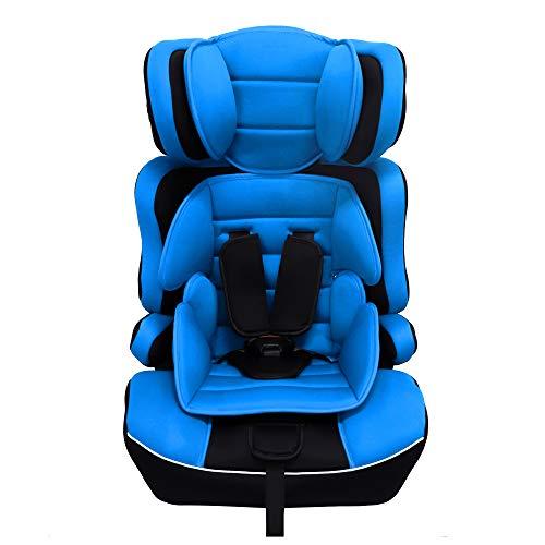 Arebos Kinderautositz | 5-Punkt-Sicherheitsgurt | Kindersitz | Gruppe 1+2+3 für 9-36kg | Einstellbare Kopfstütze | ECE R44/04 | Abnehmbare Rückenlehne | Verstellbar (44 x 44 x 66-78 cm) | Blau