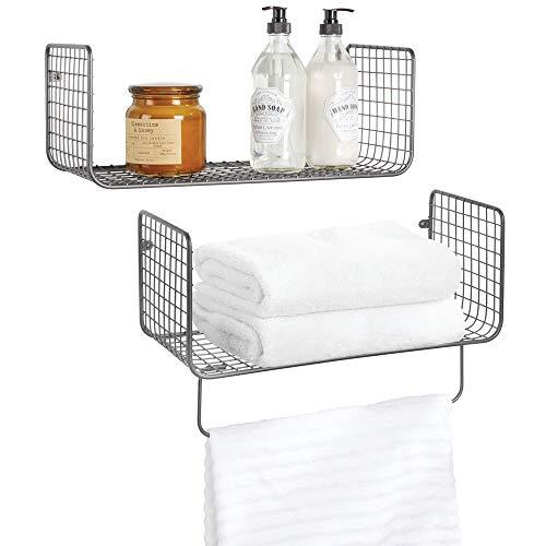 mDesign Juego de 2 estantes de pared – Versátiles estantes de metal para baño, garaje o lavadero – Cestas de rejilla con barra para toallas – gris