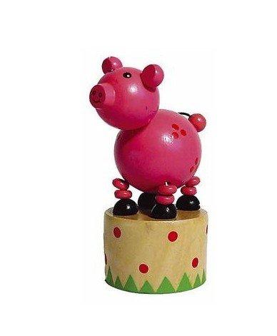 Ulysse - Jouet en Bois Wakouwa Marionnette Animal articulé Enfant 3 Ans + - Cochon