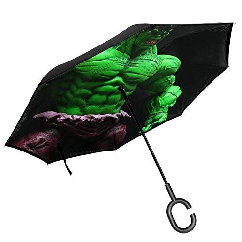 Dibujos animados Hulk invertidos dentro hacia fuera, paraguas de coche unigue resistente al viento, a prueba de rayos UV, doble capa para mujeres