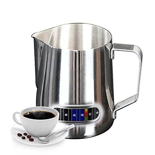 IWILCS 600ml/20oz Bricco per Latte in Acciaio Inox, Lattiera brocca da latte, Brocca in Schiuma, con Termometro, per cappuccino barista espresso making