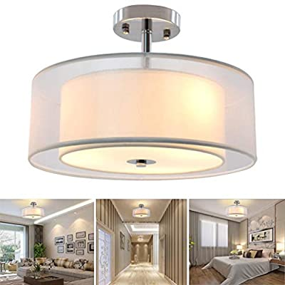 DLLT 3-Lights Industrial Semi Flush Mount Light Fixture, Vintage Double Drum Pendant Close to Ceiling Light for Bedroom, Dining Room, Kitchen, Hallway, Entry, Foyer, Living Room