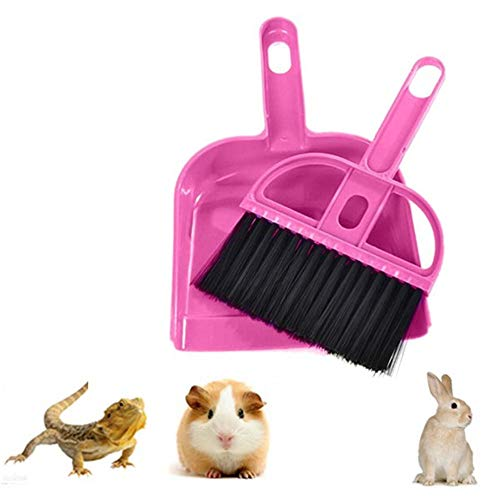 Mini Dustpan and Broom Set,Small Animal Cage Cleaner for Reptile, Hedgehog,Eopard Gecko Hamsters,Degus,Chinchilla,Guinea Pig,Bunny,Cleaning Tool Set for Animal Litter (1 Pack) (Pink)