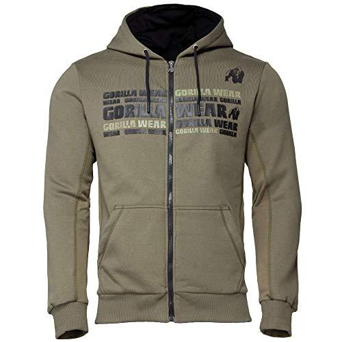 GORILLA WEAR Fitness Hoodie - Bowie Mesh Zipped - Bodybuilding Jacke Army Green 3XL
