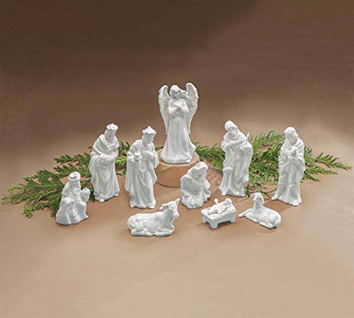 burton+BURTON Porcelain Miniature Nativity Figurine 10 Piece, White