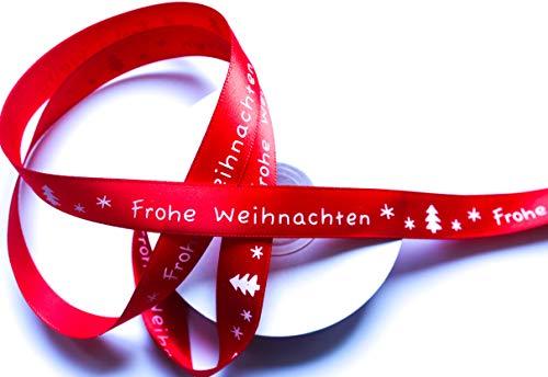 CaPiSo 20m Weihnachtsband 15mm Satinband Geschenkband Schleifenband Weihnachten mit Schrift Frohe Weihnachten (Rot)