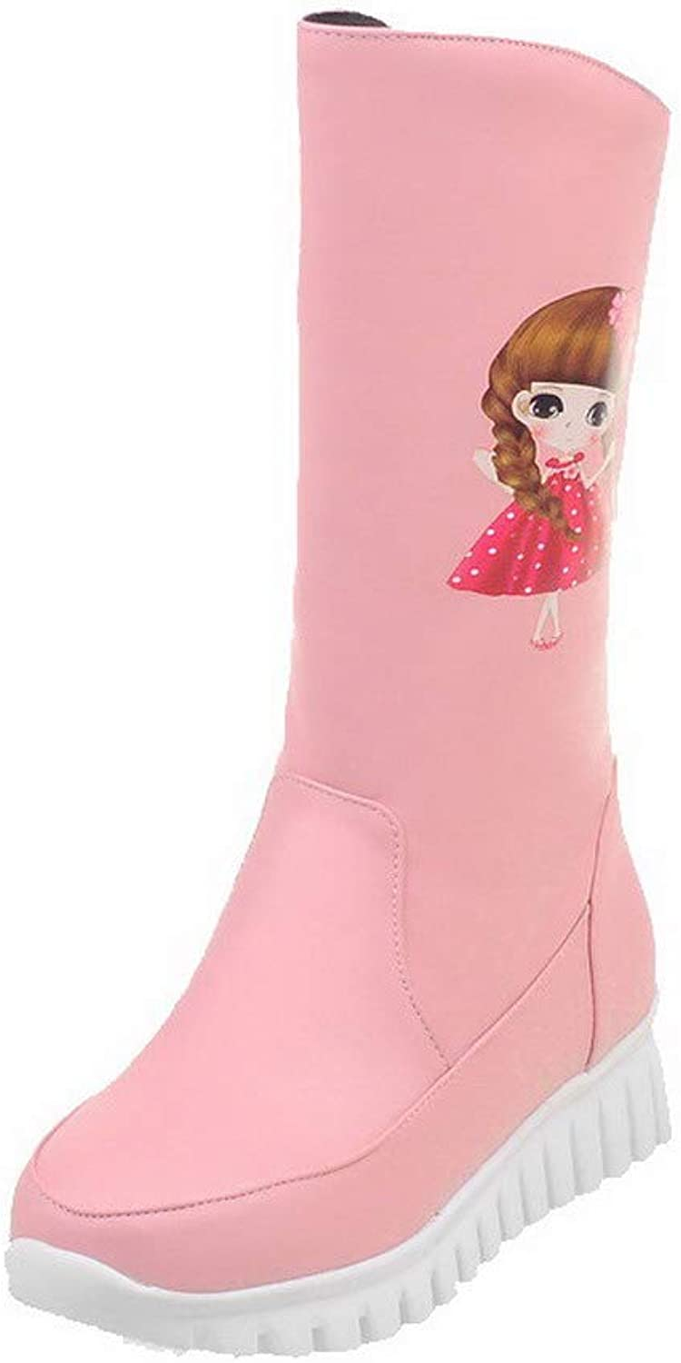 WeiPoot Women's Pu Round-Toe Cartoon Pattern Mid-Calf Low-Heels Boots, EGHXH127200
