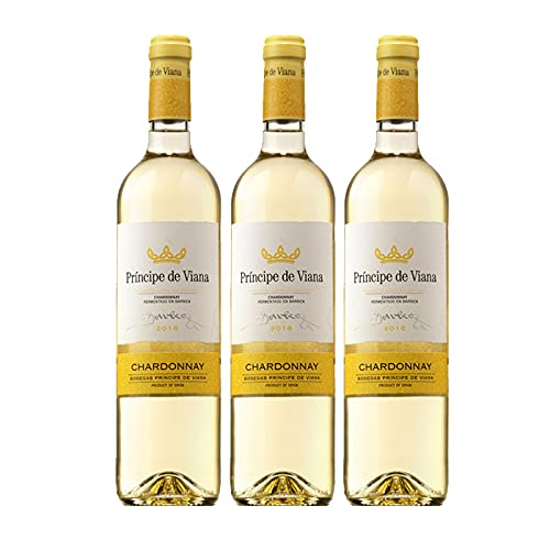Vino Blanco Principe de Viana Chardonnay Fermentado en Barrica de 75 cl - D.O. Navarra - Bodegas Principe de Viana (Pack de 3 botellas)