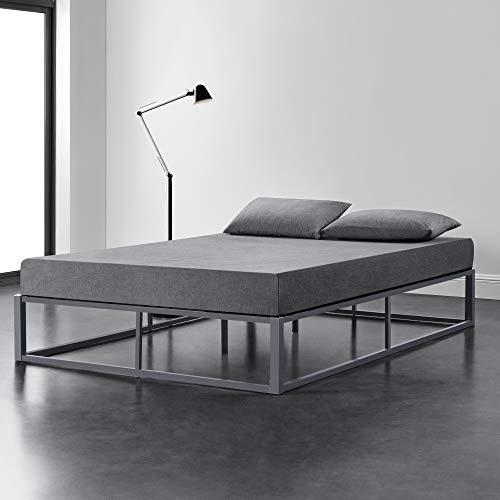 [en.casa] Cama de Metal 180cm x 200cm Estructura Estable con Somier Plataforma de Base Resistente Gris Oscuro