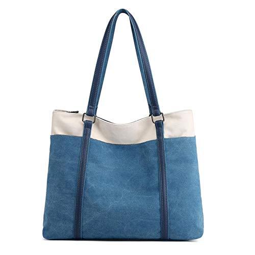 Nowbetter Bolso de mano retro lienzo bolso mujer portátil bolso de mano mano mano lienzo bolso bandolera azul, azul (Azul) - YMZV4IX0QQ