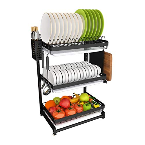 Find Discount WGZ- Vegetable Rack Stainless Steel Kitchen Shelf Flat or Wall Hanging Wall-mounted Wall Drain Rack Household Tableware Storage Box Beautiful (Color : Flat, Size : 3 layers)
