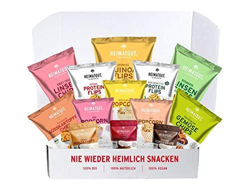 Heimatgut BIO Snack-Probierset (13 Tüten in Originalgröße) 100% Bio, 100% Vegan, 100% Natürlich (ohne Zusätze)