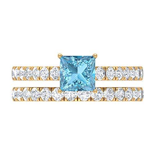 Rosec Jewels 14 quilates oro amarillo talla princesa Round Brilliant Blue Moissanite Aquamarine