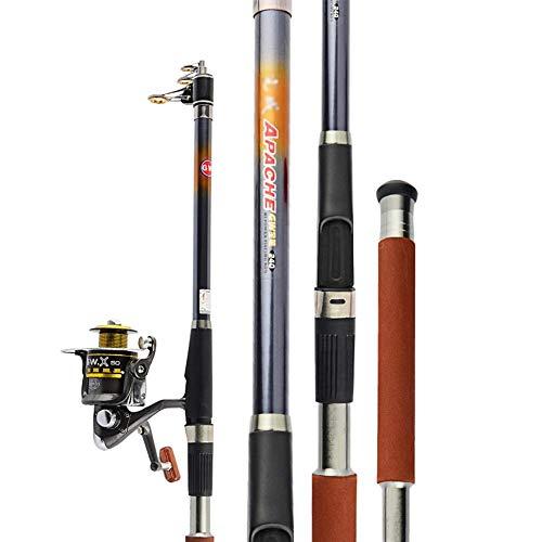 NBVCX Juego de caña de pescar de piezas mecánicas con carrete de caña giratoria, anzuelos, anzuelos, iniciador de viaje, juego profesional completo para agua dulce salada (color: A: 2,7 m)