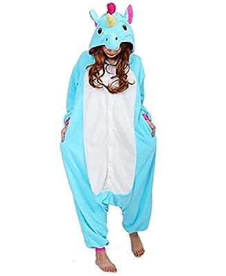 Kenmont Unicornio Juguetes y Juegos Traje Disfraz Animal Ropa de Dormir Cosplay Disfraces Pijamas para Adulto Niños (Tamaño M: 158-168 CM, Azul)