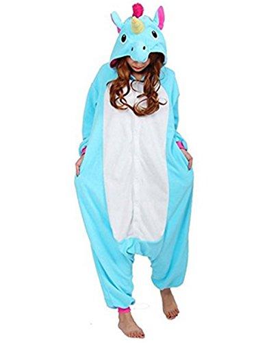 Kenmont Kostüm Einhorn Pyjama Tier Schlafanzug Overall Einteiler Jumpsuit Sleepsuit Cosplay Karneval Halloween (XL, Blue)