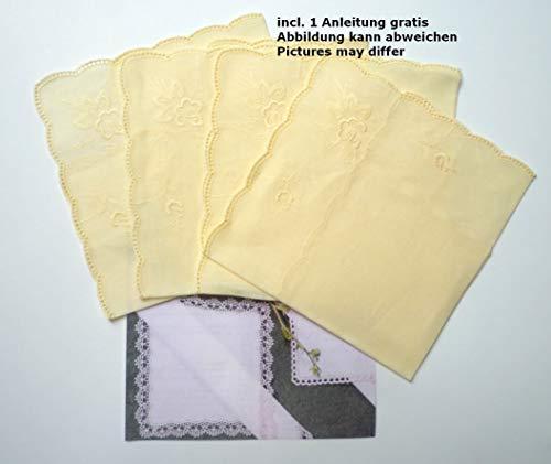 Nähstübl 4 Stück Taschentücher zum umhäkeln gebogter Rand ca. 25x25 cm hellgelb