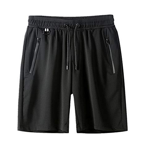 Sommer-Shorts für Herren, dünn, Casual, Capris, Strandhose, große Eis-Seidenhose Gr. 5X-Large, schwarz 1