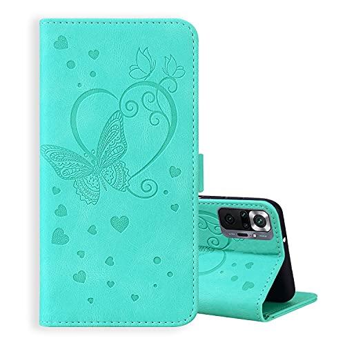 ONETHEFUL Xiaomi Redmi Note 10 Pro Funda Cartera Carcasa Accesorios Flip Cover Libro Case Fundas Mariposas en Relieve Protectoras de Piel Sintética para el Teléfono Menta Verde