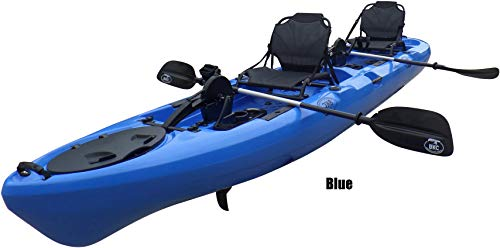 BKC PK14 14' Tandem Sit On Top Pedal Drive Kayak W/ Rudder System, 2 Paddles and Seats , 2 Person Foot Operated Kayak