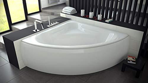 BADLAND Eckbadewanne Badewanne Eckwanne Acryl Mia 140x140 mit Acrylschürze, Füßen und Ablaufgarnitur GRATIS