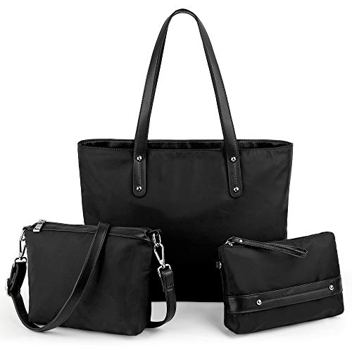UTO-Womens-Purses-and-Handbags 3 Pieces Set Lightweight Laptop Tote Bag with Crossbody Bags Wristlet Wallet Clutch Black