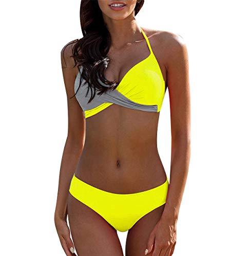 Bikini Push Up Cuello Halter Triangulo Mujer Trajes de Baño de Dos Piezas Biquini Vikini Conjunto de Bikinis con Relleno Señora Bañador Piscina Playa Trikini Mujeres Bañadores Natacion Tallas Grandes