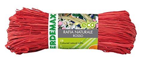Verdemax 4512 Raffia Naturel (Poids 50 g), Rouge