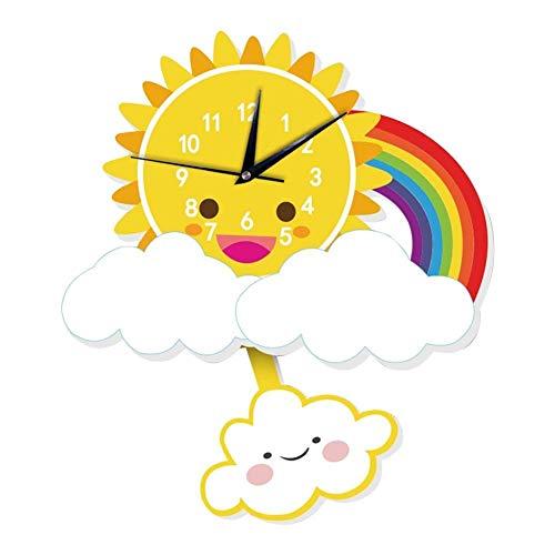 LIBINA - clock Reloj de Pared 3D Nubes solares y Relojes de Pared con Arco Iris, Lindo y silencioso, sin Hacer tictac, Dormitorio, Sala de Estar, Movimiento, Movimiento de Pared, decoración de Arte