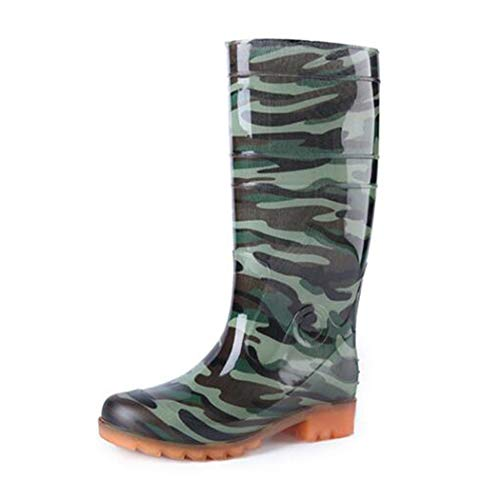 HHYHOME Men's Safety Wellington Boots Lightweight EVA Wellies Wellingtons Boots Easy Clean Waterproof Rain Shoes Soft Fabric Lining Cushioned Sole Rubber Outsole Shoes Best for Wet Weather,Green,42EU