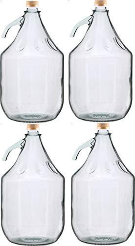 4 STÜCK 5L Gärballon mit SCHRAUBVERSCHLUSS Flasche Glasballon Weinballon kostenlose Lieferung