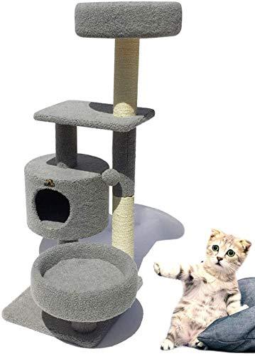 Katzenbaum, mit Katze fangen Säulenkatze Cat Kletterturm Aktivitätszentrum Katze Greifmöbel, effektiv verhindert Hausschaden, Katze Favorit,Grey