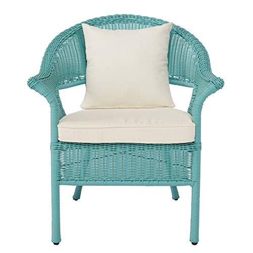 BrylaneHome Roma All-Weather Wicker Stacking Chair, Haze