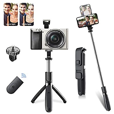 Selfie Stick Tripod, Build in Lights & Compact Selfie Stick with Detachable Bluetooth Remote, Selfie Stick Tripod for Makeup, Photography, Live Streaming, Compatible with iPhone/Android by Kandice