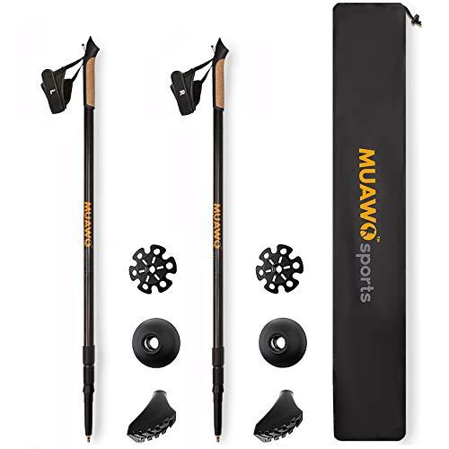 Muawo - Bastoncini da trekking per nordic walking, 100% carbonio, 3K, telescopici, ultra leggeri e accessori da 170 g per bastone, regalo per escursionisti, uomini e donne