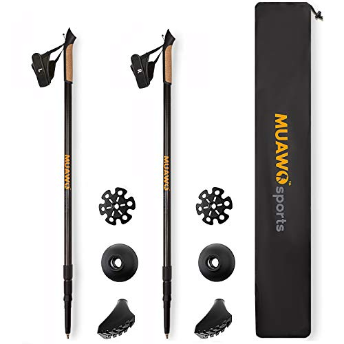 Muawo Premium Nordic Walking Stöcke 100% Carbon 3K Teleskop Verstellbar - Ultraleichte Wanderstöcke + Zubehör 170gr pro Stock, Geschenke für Wanderer, Männer und Frauen