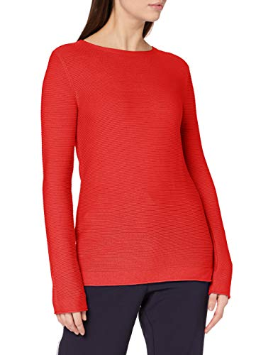 TOM TAILOR Damen Struktur Strickpullover Pullover, 11025-Strong Red, XL